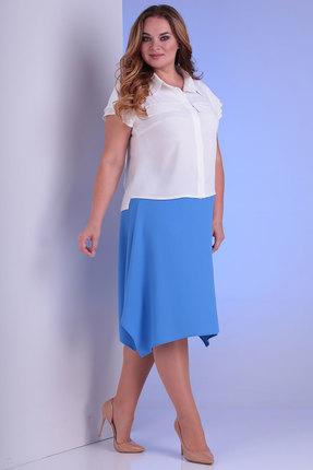 Комплект юбочный Viola Style 2651 белый с голубым