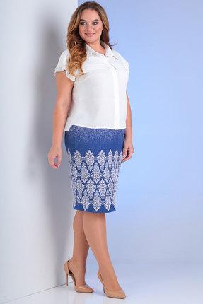 Комплект юбочный Viola Style 2650 белый с синим