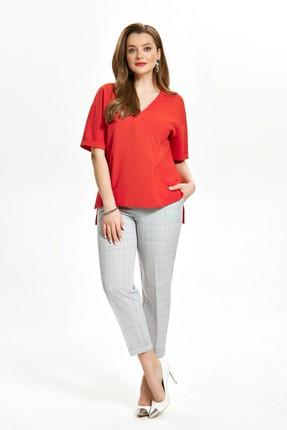 Комплект брючный TEZA 1517 серый с красным