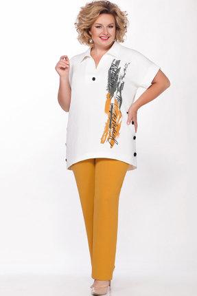 Комплект брючный Теллура-Л 1498 белый+жёлтый