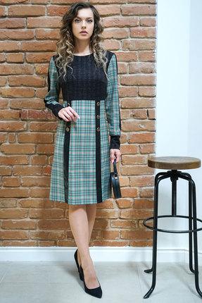 Платье Alani 1195 серо-бирюзовые тона с черным