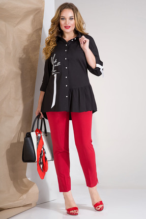 Комплект брючный Лилиана 853В красный с черным