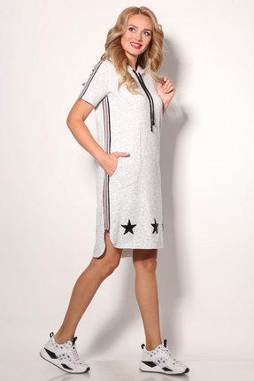 Фото 3 - Спортивное платье Angelina & Co 406 серый серого цвета
