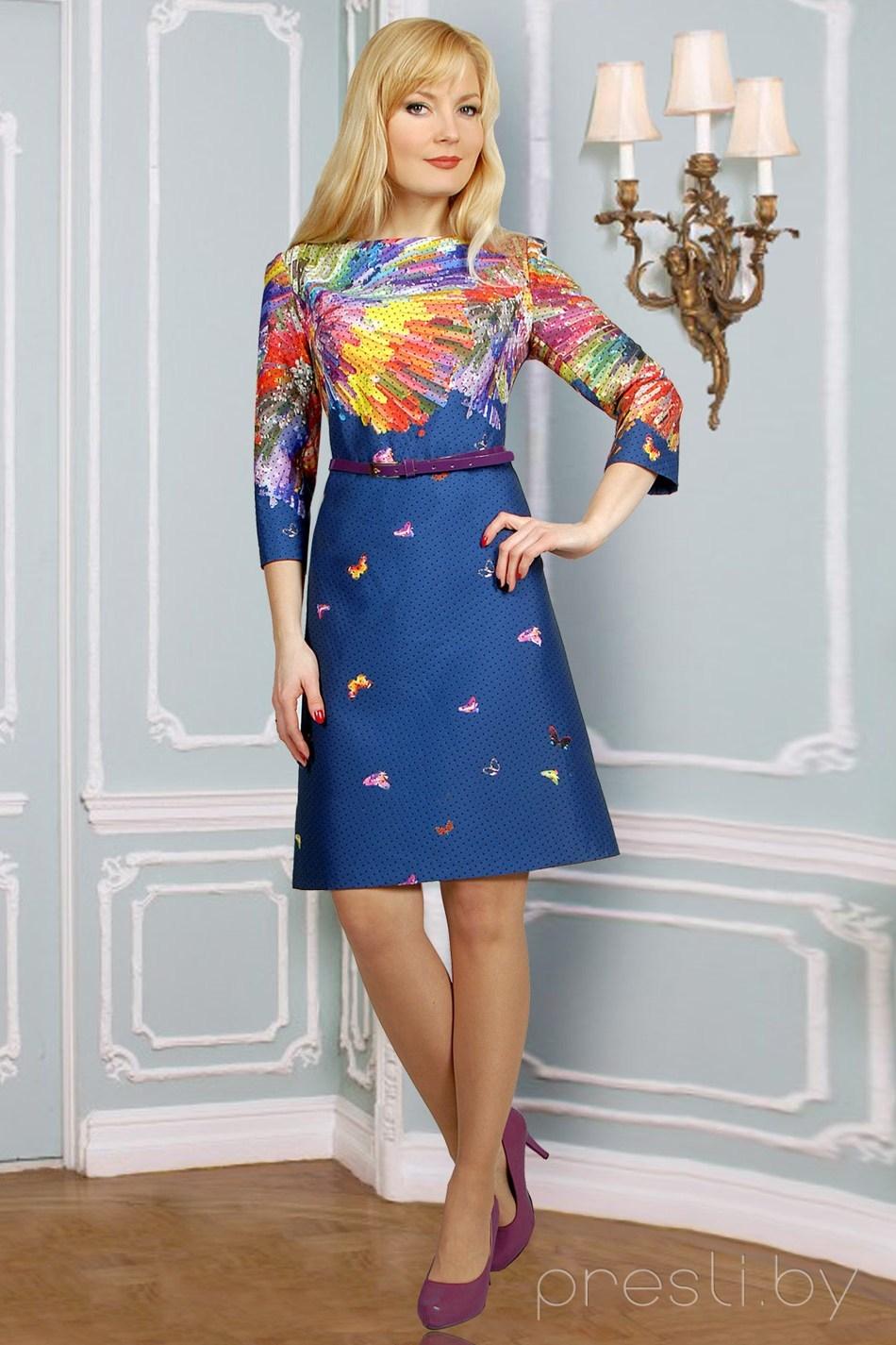 Платье Миа Мода 576 синий разноцвет
