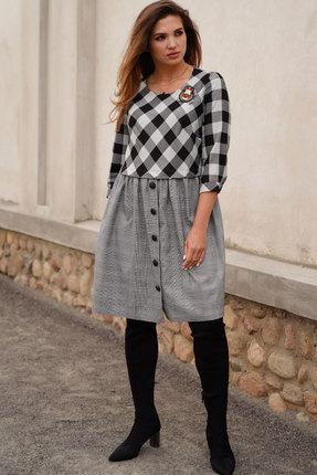 Платье ЛЮШе 2418 черно-белый с серым
