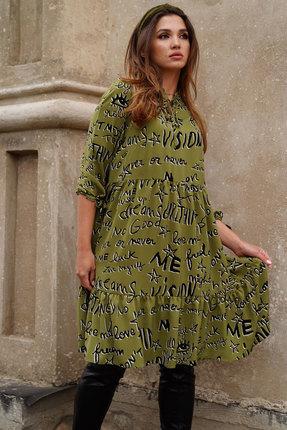 женское повседневные платье люше, оливковое
