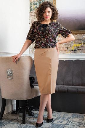 Комплект юбочный Erika Style 1018-1 черный с бежевым