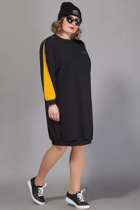 Спортивное платье Сч@стье 7040-4 черный с горчицей