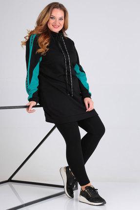 Спортивное платье Viola Style 1108 черный с бирюзой