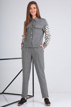 женский брючный костюм viola style, серый