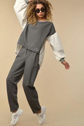 женский брючный костюм сч@стье, серый