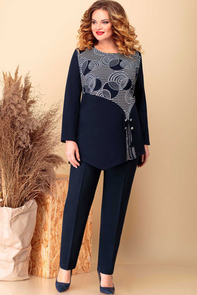 женский брючный костюм асолия, синий