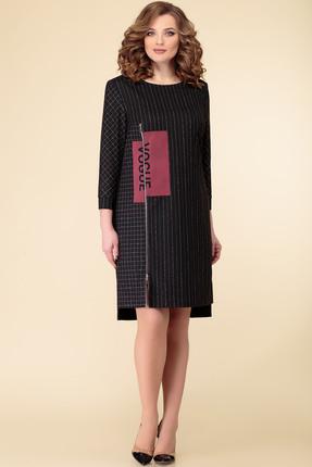 Платье Дали 2520 черный с малиновым
