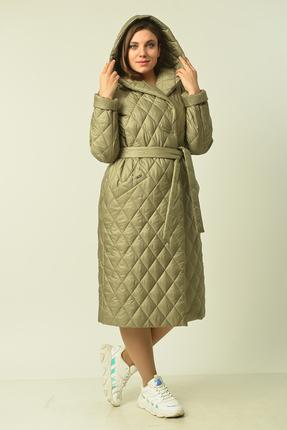 женское пальто диамант, оливковое
