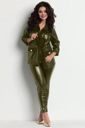 женский брючный костюм solomeya lux, оливковый