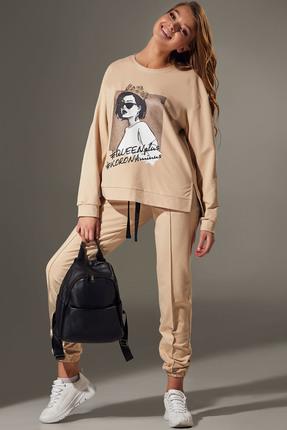 женский спортивный костюм andrea fashion, кремовый