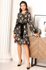 Платье Мода-Юрс 2634 черный с бежевым