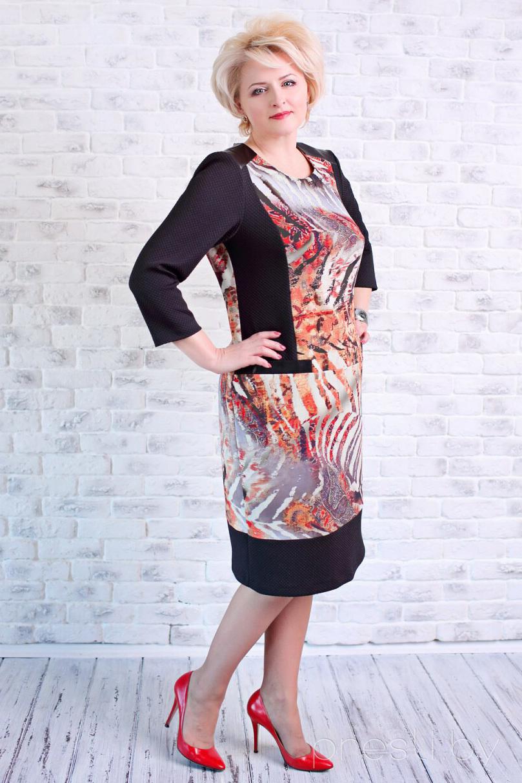 Платье MANKLOVER 589 черный + оранжевый