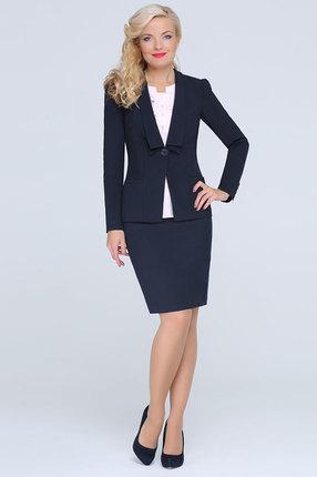 Купить Комплект юбочный LaKona 881 темно-синий, Юбочные, 881, темно-синий, Жакет и юбка: ПЭ 65%+Вискоза 35% Блуза: ПЭ 60%+Вискоза 35%+Спандекс 5%, Мультисезон
