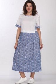 Платье Lady Style Classic 1581/11 белый с голубым