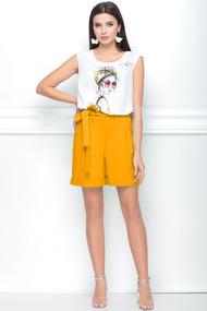 Комплект с шортами LeNata 21187 оранжевый с белым