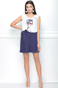 Комплект с шортами LeNata 21187 фиолетовый с белым