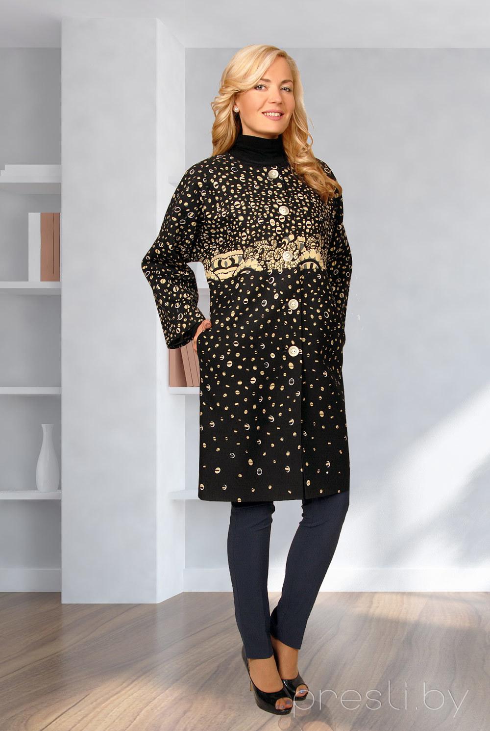 Пальто Миа Мода 622-1 черный с желтым