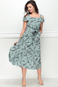 Платье LeNata 11115 зеленый с рисунком