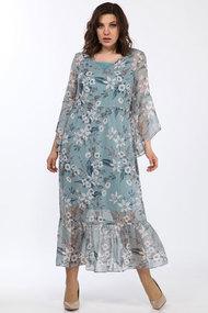Комплект плательный Lady Style Classic 1802/1 голубые тона - цветы