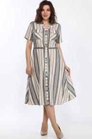Платье Lady Style Classic 2268 бежево-серо-зеленые полоски