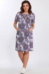 Платье Lady Style Classic 1257/1 сине-белая клетка с персиковым