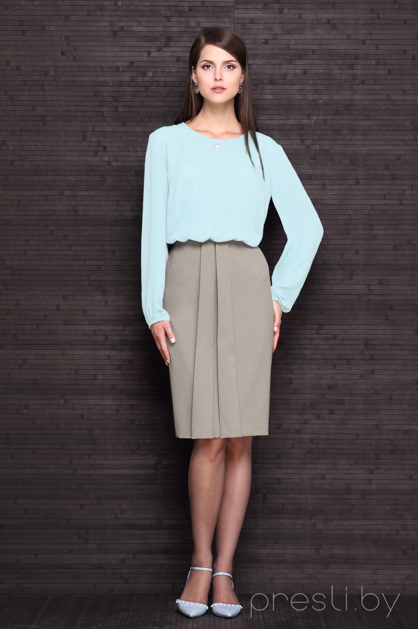Платье Faufilure C175 голубой с какао
