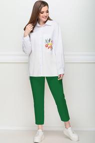Комплект брючный LeNata 21194 зеленый с белым