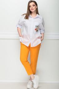 Комплект брючный LeNata 21194 оранжевый с белым