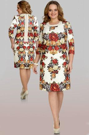 Купить Платье Aira Style 351 цветы, Платья, 351, цветы, 66% ПЭ, 32% вискоза, 2% эластан, Мультисезон