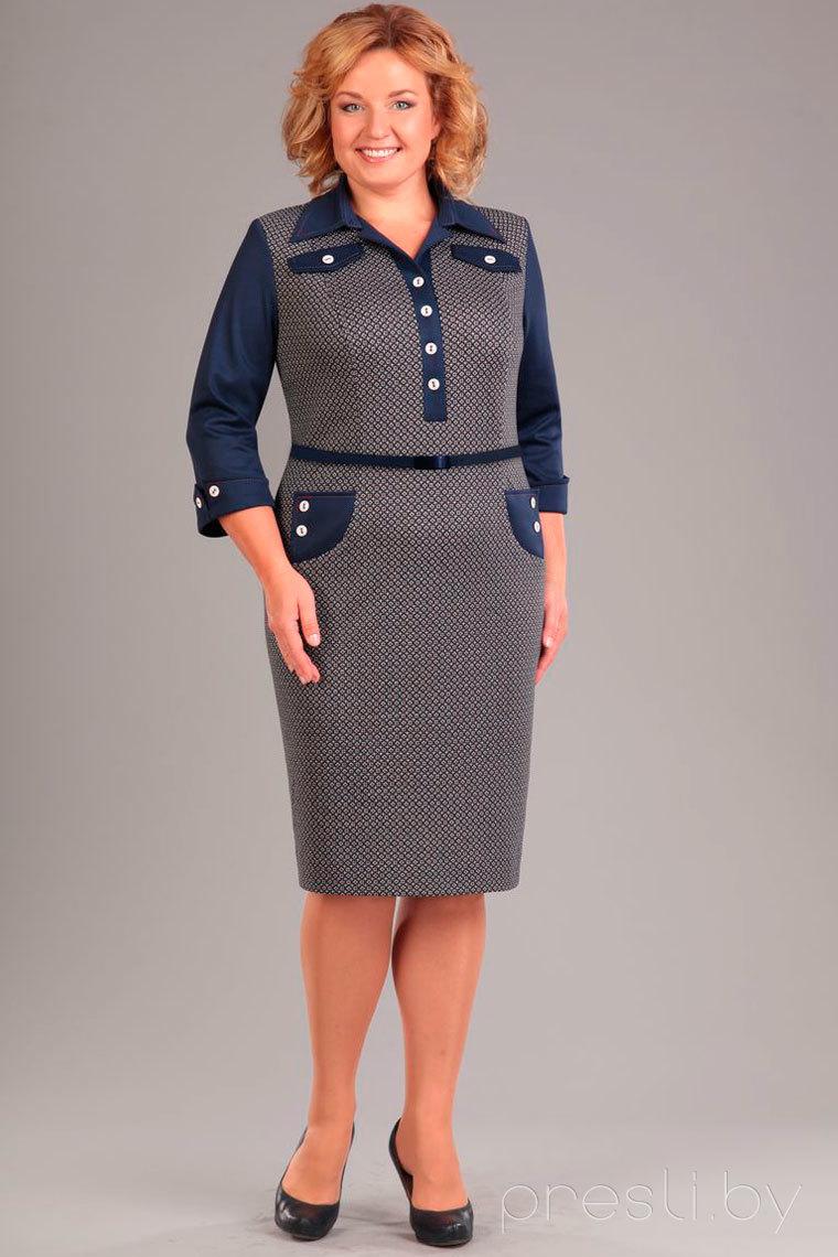Платье Axxa 53938 серо-синие тона