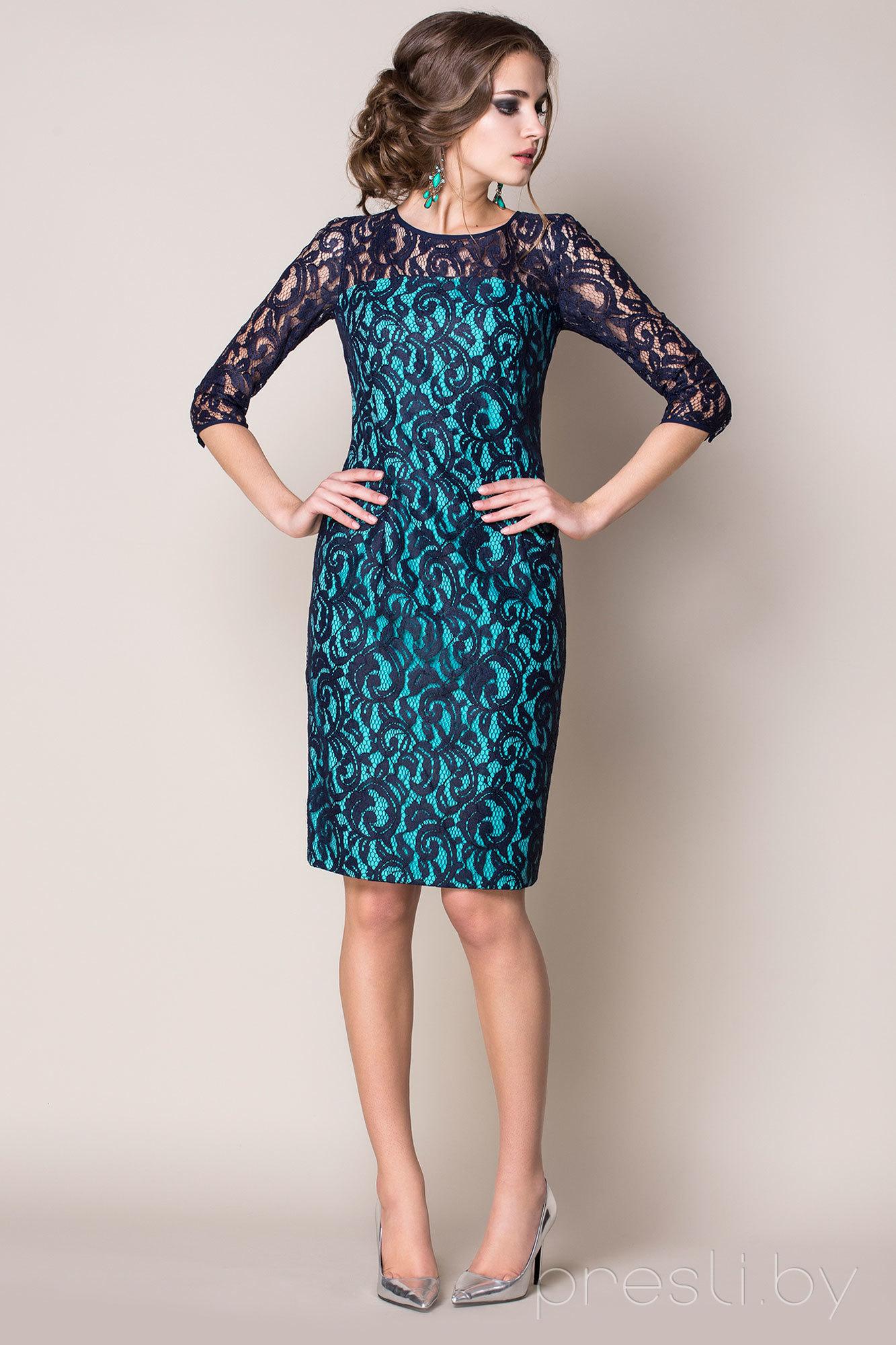 Платье Noche Mio 1.464 темно-синий с бирюзой