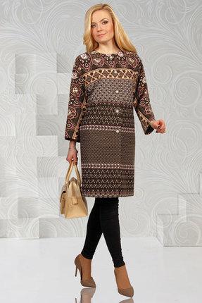 Купить со скидкой Пальто Миа Мода 622-4 серые тона с коричневым
