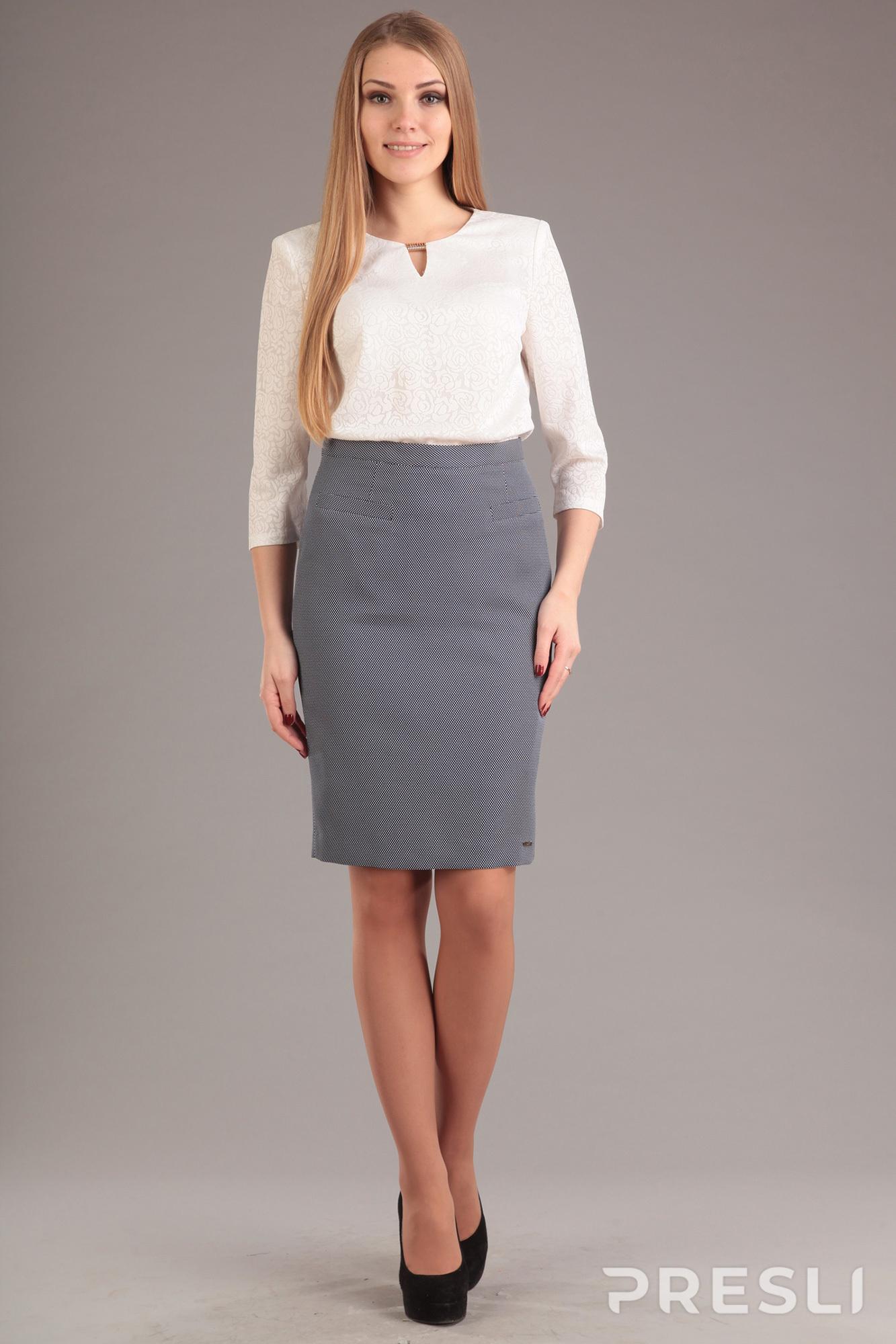 Комплект юбочный Эола Стиль 1198 белый+серый