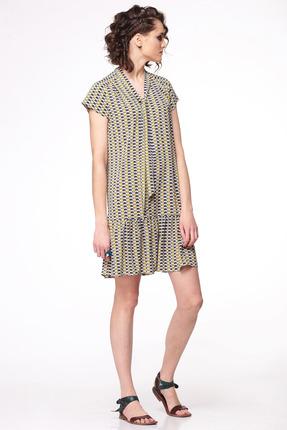 Купить Платье Golden Valley 4253 серо-желтые тона, Платья, 4253, серо-желтые тона, Текстильный, плательный, эластичный с рисунком (полиэстер 97%, эластан 3%), Лето