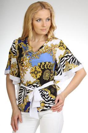 Купить Блузка Дали 1050 белый с синим, Блузки, 1050, белый с синим, Вискоза 48%, ПЭ 47%, спандекс 5%., Мультисезон