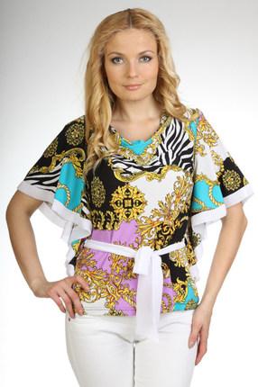 Блузка Дали 1050 белый с бирюзой, Блузки, 1050, белый с бирюзой, Вискоза 48%, ПЭ 47%, спандекс 5%., Мультисезон  - купить со скидкой