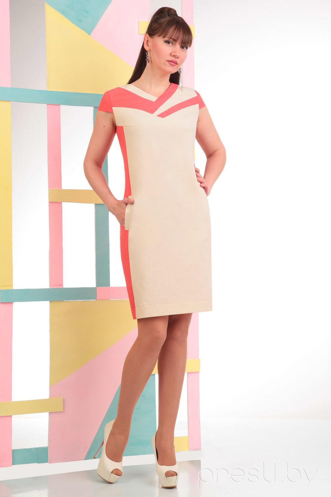 Платье Axxa 53977 X беж с кораллом