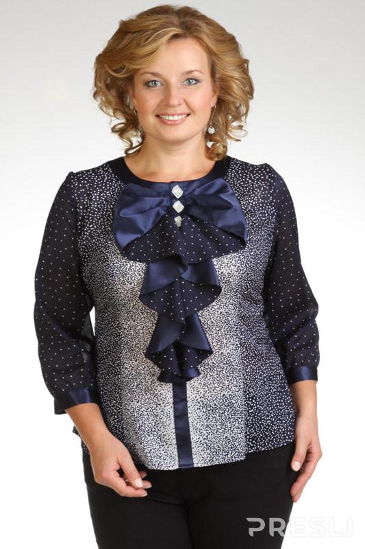 Блузка Дали 1258 синий-белый
