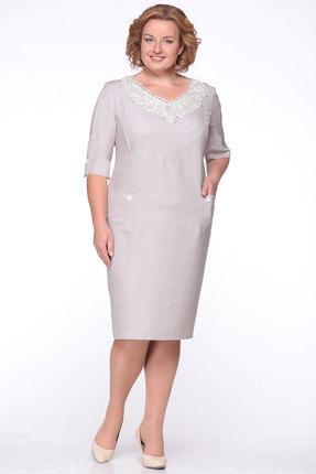 Купить Платье Michel Chic 637 экрю, Платья, 637, экрю, Лен 35%, полиэстер 40%, вискоза 18%, 7% эластан, Мультисезон