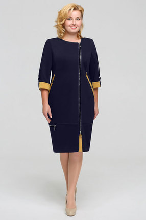 Платье Теллура-Л 1201 темно-синий+горчица