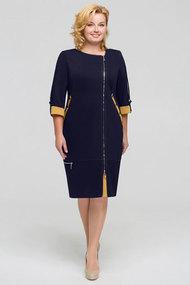"Платье Теллура-Л 1201 тёмно-синий+""горчица"""
