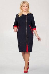 Платье Теллура-Л 1201 тёмно-синий+красный