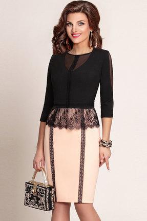 Платье Vittoria Queen 2583-1 черный с персиковым