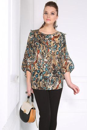 Купить Блузка Matini 4957 коричневые тона, Блузки, 4957, коричневые тона, Блузочная ткань (97% пэ, 3% эластан), Мультисезон